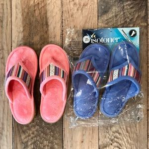 2 PAIRS ISOTONER WOMEN'S SLIPPERS (NWT) Size 8.5-9